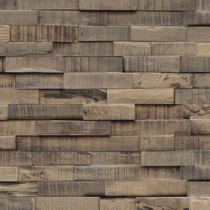 Indo Holzpaneele 3D Wall Slimwood Stone Washed (Hevea, 560 x 200 x 8 mm, 9 Paneele)