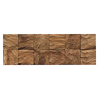 Indo Holzpaneele 3D Wall Diamondwood Cube Nature (Teak, 552 x 184 x 10 mm, 10 Paneele)