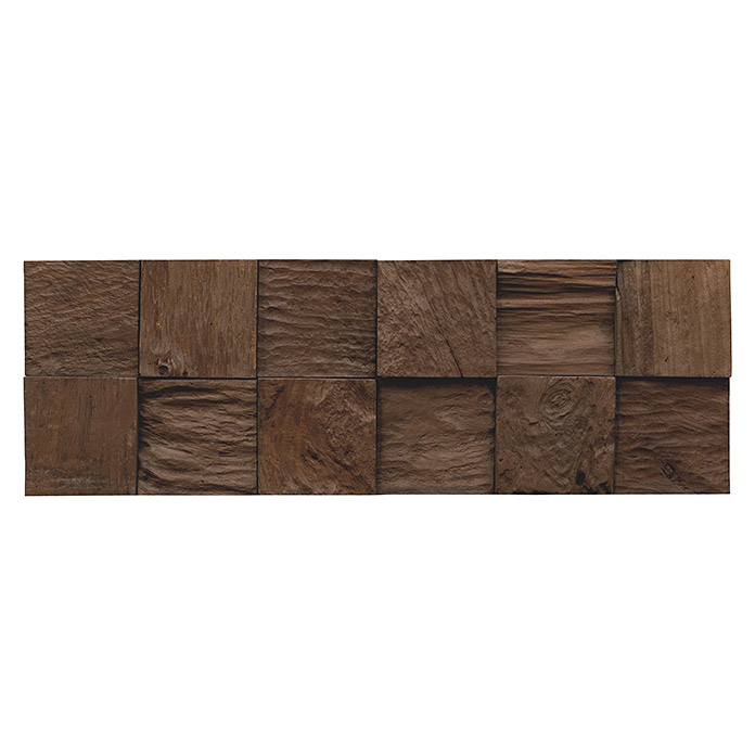 Indo Holzpaneele 3D Wall Classic & Cube Sulawesi (Teak, 552 x 184 x 10 mm, 10 Paneele)