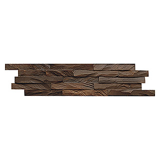 Indo Holzpaneele 3D Wall Diamondwood Ancient Brown (Teak, 610 x 150 x 10 mm, 11 Paneele)