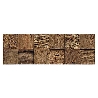 Indo Holzpaneele 3D Wall Classic & Cube Bali Nature (Teak, 552 x 184 x 10 mm, 10 Paneele)
