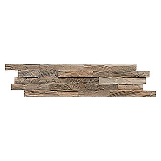 Indo Holzpaneele 3D Wall Diamondwood Ancient Grey (Teak, 610 x 150 x 10 mm, 11 Paneele)
