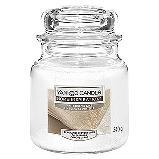 Yankee Candle Home Inspirations Duftkerze (Im Glas, White Linen & Lace, Medium)