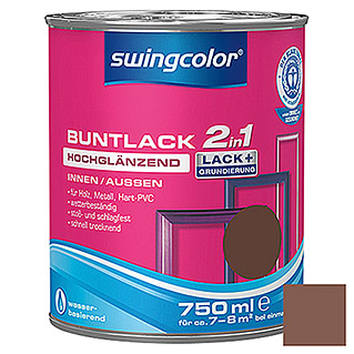 swingcolor 2in1 Barniz de color (Nogal, 750 ml, Muy brillante)