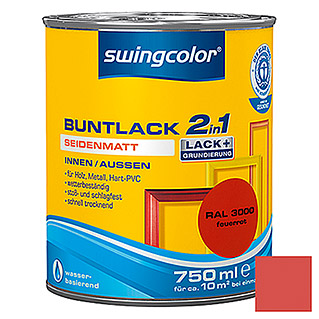 swingcolor 2in1 Buntlack (Feuerrot, 750 ml, Seidenmatt)