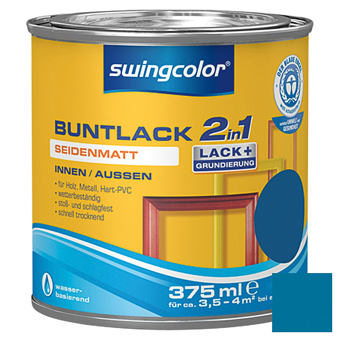 swingcolor 2in1 Buntlack  (Enzianblau, 375 ml)