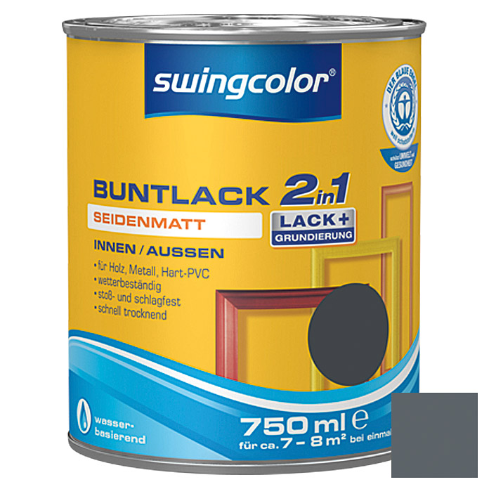 swingcolor 2in1 Buntlack (Anthrazitgrau, 750 ml, Seidenmatt)