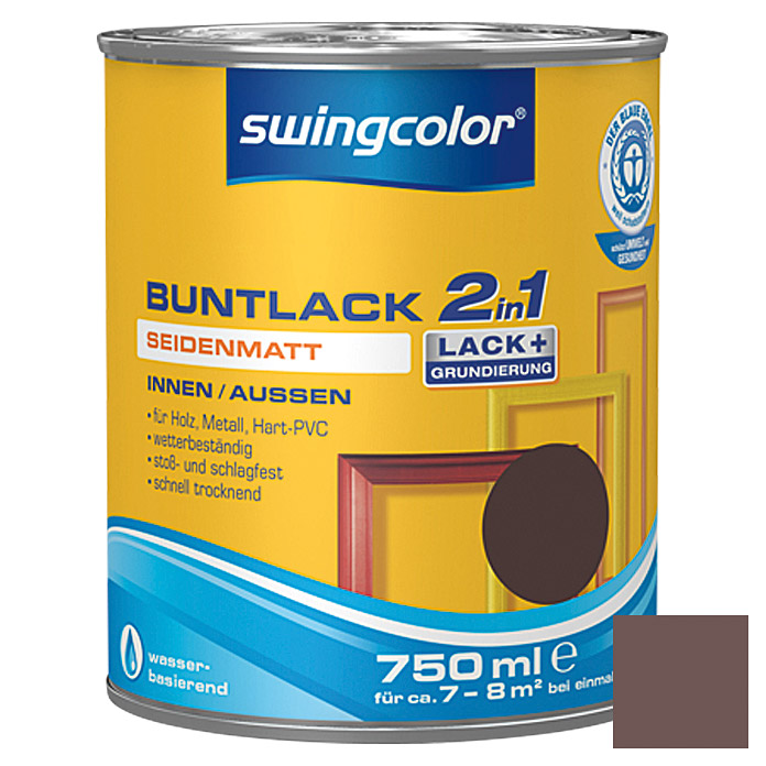 swingcolor 2in1 Buntlack (Schokobraun, 750 ml, Seidenmatt)