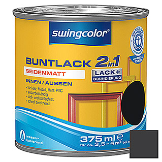 swingcolor 2in1 Buntlack (Schwarz, 375 ml, Seidenmatt)