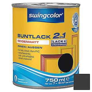 swingcolor 2in1 Buntlack (Schwarz, 750 ml, Seidenmatt)