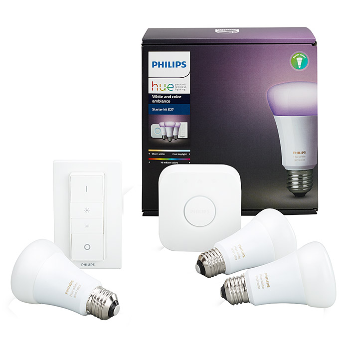 Philips Hue LED-Leuchtmittel-Set Starter Kit (10 W, E27, RGBW, Einstellbare Farbtemperatur)