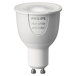Philips Hue LED-Leuchtmittel (6,5 W, GU10, RGBW, Einstellbare Farbtemperatur, Dimmbar, 1 Stk.)
