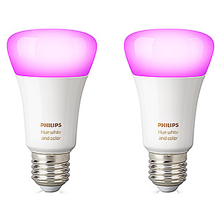 Philips Hue LED-Leuchtmittel-Set (10 W, E27, RGBW, Einstellbare Farbtemperatur, 2 Stk.)