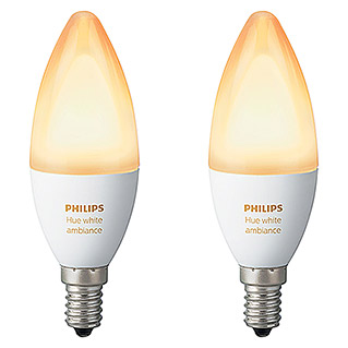 Philips Hue LED-Leuchtmittel-Set (6 W, E14, Einstellbare Farbtemperatur, Dimmbar, 2 Stk.)