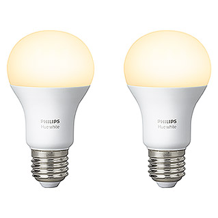 Philips Hue LED-Leuchtmittel-Set (9 W, E27, Warmweiß, Dimmbar, 2 Stk.)