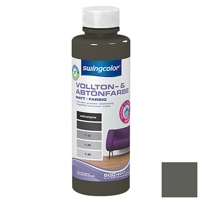 swingcolor Vollton- & Abtönfarbe  (Anthrazitgrau, 500 ml)