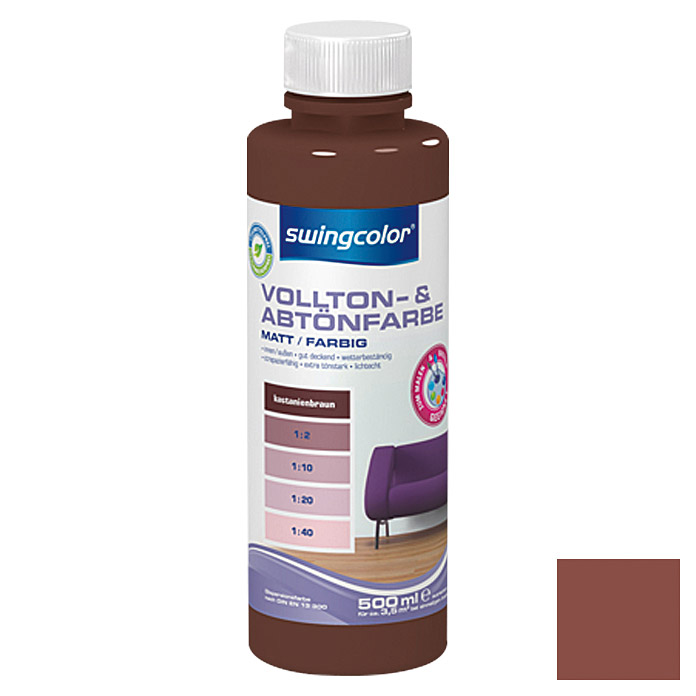 swingcolor Vollton- & Abtönfarbe  (Kastanienbraun, 500 ml)