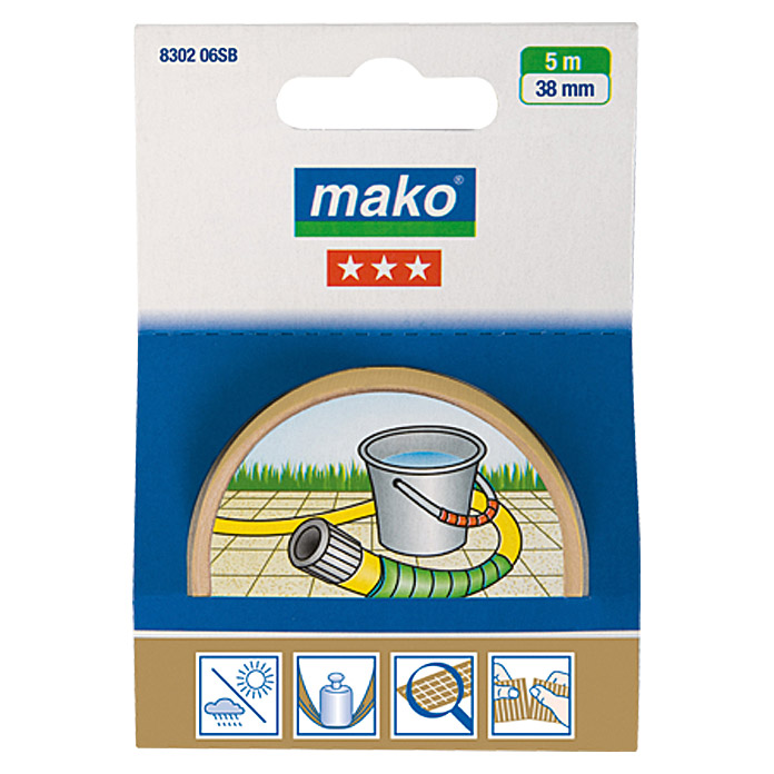 Mako Cinta adhesiva superfuerte (Marrón, 5 m x 38 mm)