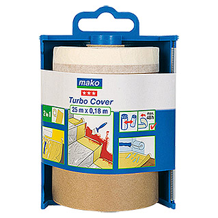 Mako Papel protector Turbo Cover (En dispensador, 0,18 x 25 m, Borde de cinta de carrocero por un lado)