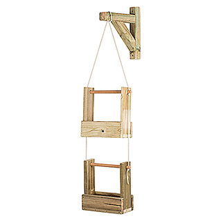 Maceta de pared Vertical Woody (Largo: 28 cm, Natural, 2 Bandejas)