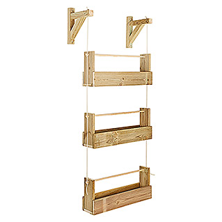 Maceta de pared Vertical Woody (Largo: 69 cm, Natural, 3 bandejas)