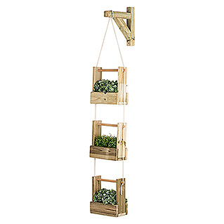 Maceta de pared Vertical Woody (Largo: 28 cm, Natural, 3 bandejas)
