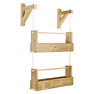 Maceta de pared Vertical Woody (Largo: 69 cm, Natural, 2 Bandejas)