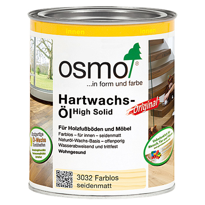 osmo high solid hartwachs l original 3032 farblos 750 ml seidenmatt bauhaus. Black Bedroom Furniture Sets. Home Design Ideas