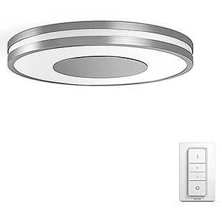 Philips Hue Being Led-plafondlamp, rond (32 W, Zilver, Ø x h: 34,8 x 5,1 cm)