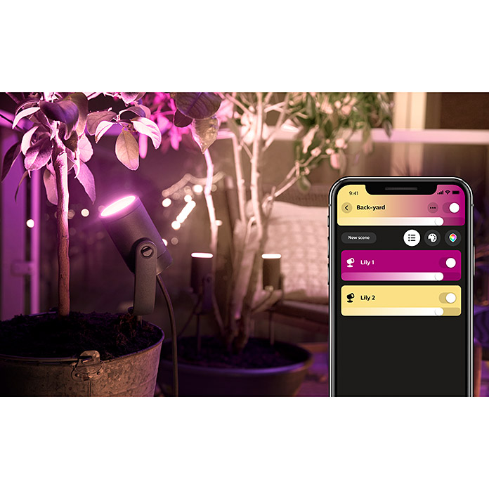 Philips Hue Foco LED de jardín Lily (1 luz, 8 W, Color de luz: RGB, IP65)