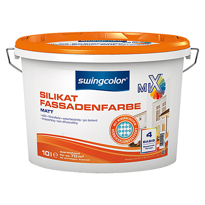 MIX SILIKAT-FASSADEN-FARBE BASIS 4  10 lSWINGCOLOR