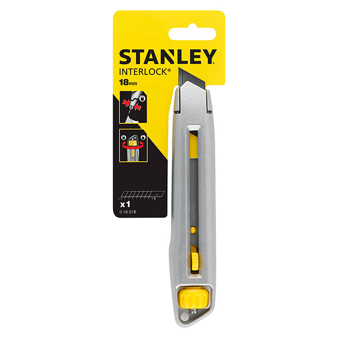 Stanley Cuchillo Cúter Interlock (Anchura de hoja: 18 mm, Cuchillas desmontables)