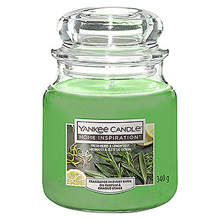 Yankee Candle Home Inspirations Duftkerze (Im Glas, Fresh Herbs & Lemon, Medium)