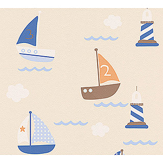 AS Creation Boys And Girls 6 Papiertapete (Beige/Blau, Motiv, 10,05 x 0,53 m)