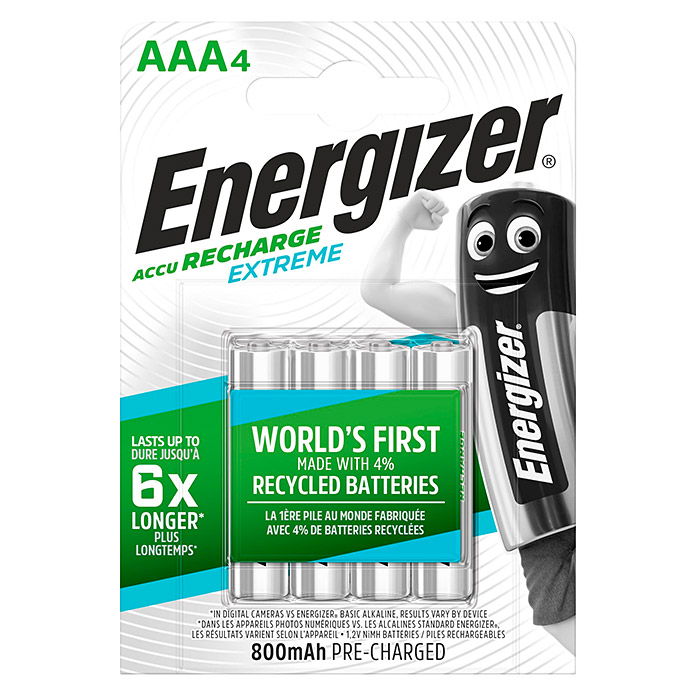 Energizer Akku Rechargeable Extreme (Micro AAA, 1,2 V, 4 Stk.)