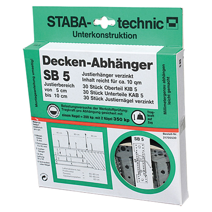 staba deckenabh nger sb 5 verstellbar 5 cm 10 cm 30 stk bauhaus. Black Bedroom Furniture Sets. Home Design Ideas