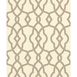 FREUNDIN HOME COLLECTION Globetrotter Vliestapete (Creme/Gold, Ornament, L x B: 10,05 x 0,53 m)
