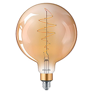 Philips Bombilla LED Vintage Gold Globo (6,5 W, E27, Color de luz: Blanco cálido, Intensidad regulable, Redondeada)