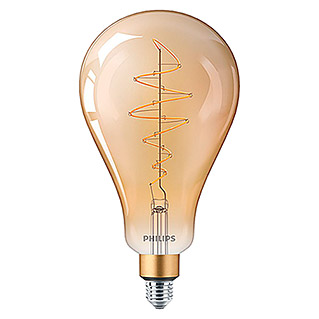 Philips Bombilla LED Vintage Gold (6,5 W, E27, Color de luz: Blanco cálido, Intensidad regulable, Redondeada)
