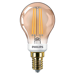 Philips Bombilla LED Vintage Gold (5 W, E14, Color de luz: Blanco cálido, Intensidad regulable, Redondeada)