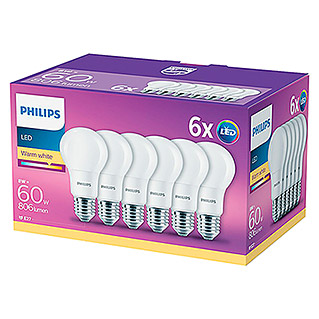 Philips Bombilla LED (6 uds., E27, 8 W, Color de luz: Blanco cálido, No regulable)