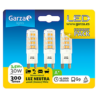 Garza Bombilla LED (3 uds., G9, 3,5 W, Color de luz: Blanco neutro, No regulable)