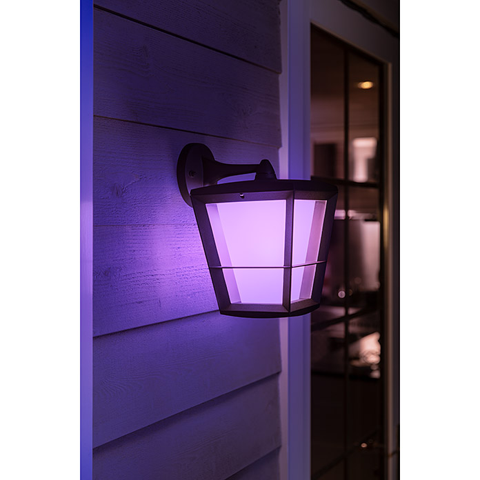 Philips Hue LED-Außenwandleuchte White & Color Ambiance Econic Laternenform (1-flammig, 15 W, Lichtfarbe: Bunt, IP44)
