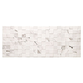 Revestimiento de pared Alba Relieve (25 x 75 cm, Blanco, Marmolado)