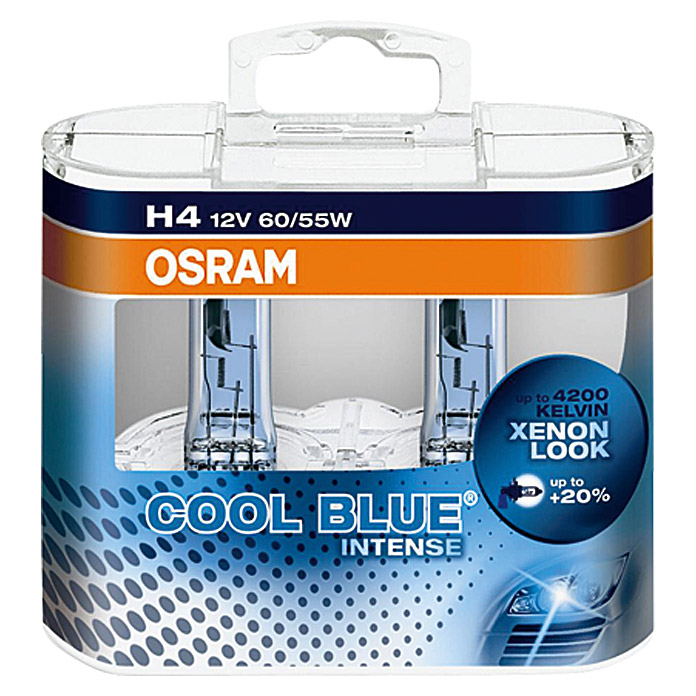 osram halogen scheinwerferlampen set cool blue intense h4 2 stk 2764 autoelektrik. Black Bedroom Furniture Sets. Home Design Ideas