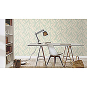 Barbara Home Collection Vliestapete Farn (Creme/Hellblau, 10,05 x 0,53 m)