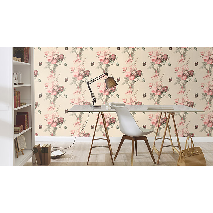 Barbara Home Collection Vliestapete Floral II (Weiß, Floral, 10,05 x 0,53 m)