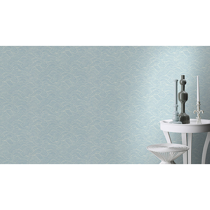 Barbara Home Collection Vliestapete Welle (Creme/Hellblau, Wellen, 10,05 x 0,53 m)
