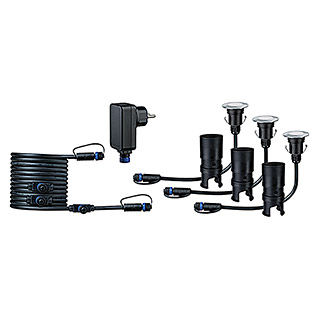 Paulmann Plug & Shine LED-Gartenspot-Set (3 x 2,5 W, 24 V, IP65, Höhe: 90 mm)