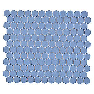 Mosaikfliese Hexagon Uni HX AT23 (26 x 30 cm, Blau, Matt)